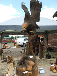 Wood-carved-Eagle-Display